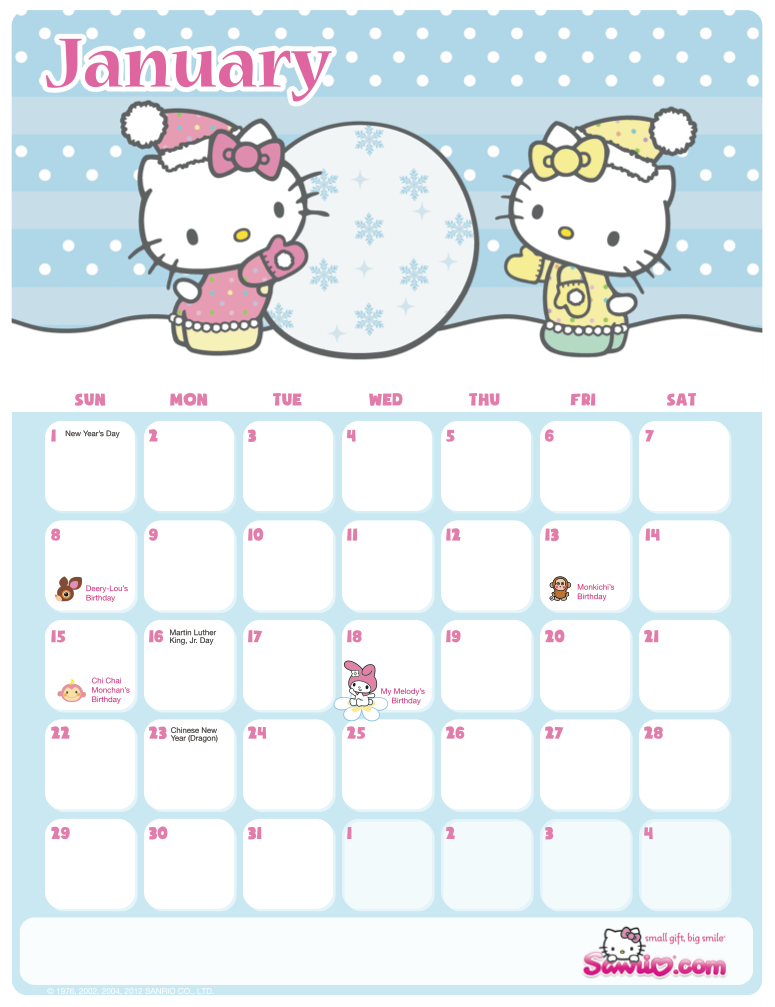 January 2014 Calendar Hello Kitty Supercute sanrio hello kitty